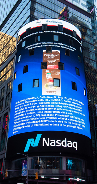 image shows advertisement of Primatene MIST inhaler on NYC Times Square electronic billboard